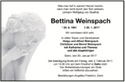 Traueranzeige Bettina Weinspach